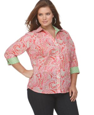 Jones New York Signature Plus Size Shirt, Paisley with Polka Dot Accents