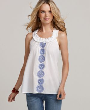 Tommy Hilfiger Top, Sleeveless Reef Embroidered Ruffle A Line Tank