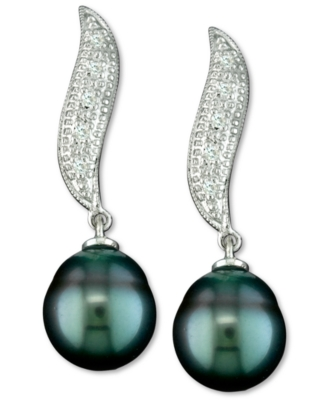 14k White Gold Earrings, Diamond Accent and Tahitian Pearl