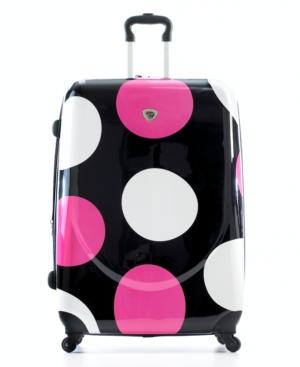 "Landor and Hawa Suitcase, 24"" Large Dot Hardside Rolling Spinner Upright"