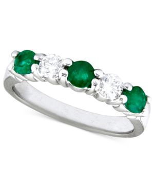 14k White Gold Ring, Emerald (5/8 ct. t.w.) and Diamond (1/3 ct. t.w.)
