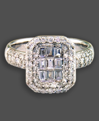 14k White Gold Ring, Diamond Square (1-1/3 ct. t.w.)