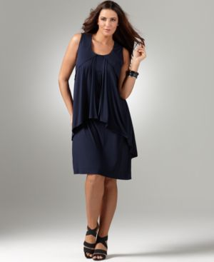 Alfani Plus Size Dress, Sleeveless Layered Drape Knit