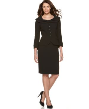 Tahari Suit, Bow Collar Jacket & Skirt