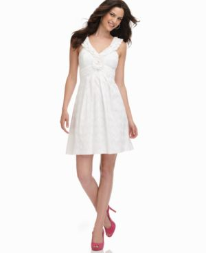 Nine West Dress, Sleeveless Ruffled Neckline with Rosette