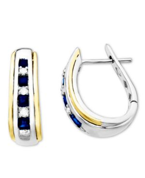 14k Gold and Sterling Silver Earrings, Sapphire (5/8 ct. t.w.) and Diamond Accent Oval