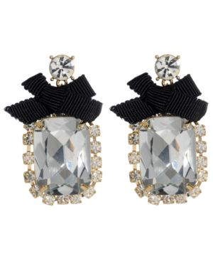 Betsey Johnson Iconic Earrings, Crystal Bow Drop