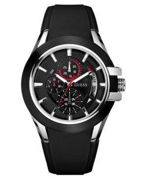 GUESS Watch, Men's Black Silicone Strap U10575G1