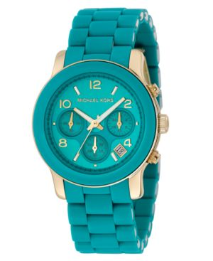 MICHAEL Michael Kors Watch, Women's Blue Polyurethane and Goldtone Stainless Steel Bracelet MK5266