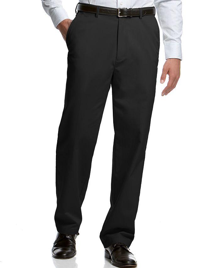 Haggar - Flat-Front Classic-Fit Microfiber Performance Dress Pants