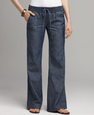 Lucky Brand Jeans Pants, Avery Smocked Dark Chambray - Jeans