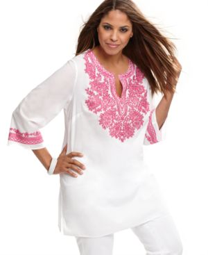 INC International Concepts Plus Size Top, Three Quarter Sleeve Embroidered Tunic