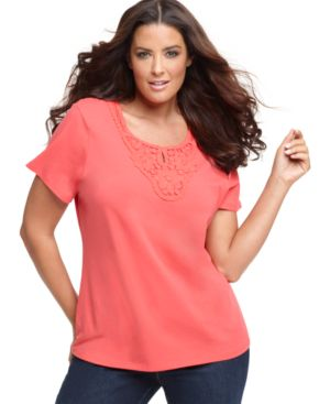 Charter Club Plus Size Top, Short Sleeve Crochet Trim