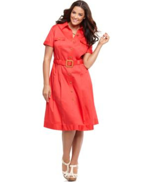 Jones New York Signature Plus Size Dress, Short Sleeve Belted Shirtdress