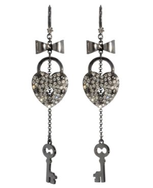 Betsey Johnson Earrings, Crystal Heart Key
