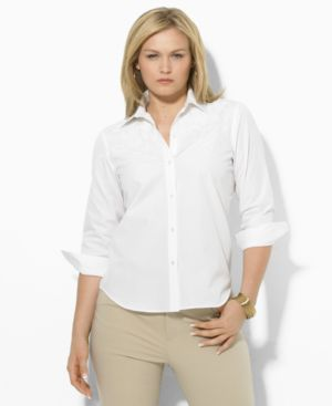Lauren by Ralph Lauren Plus Size Shirt, Priya Embroidered