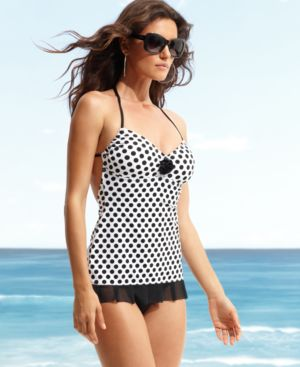 Kenneth Cole Reaction Swimsuit, Polka Dot Swimdress with Rosette Women's Swimsuit