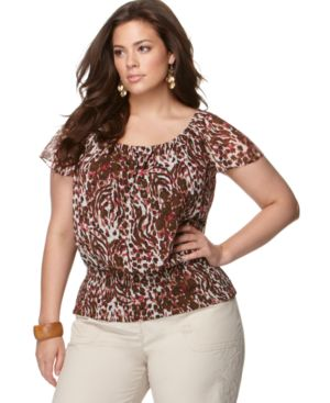 Charter Club Plus Size Top, Flutter Sleeve Animal Print