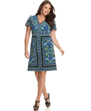 NY Collection Plus Size Dress, Short Sleeve Printed