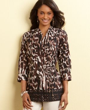 Charter Club Tunic, Animal Print with Rope Belt