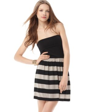 Soprano Dress, Strapless Striped Tube Mini