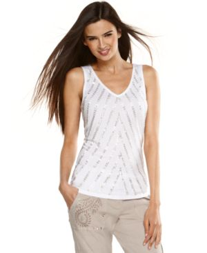 INC International Concepts Top, Chevron Beaded Tank