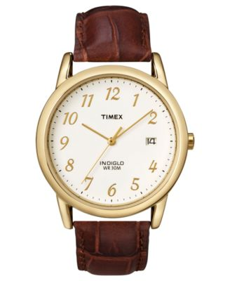 timex s brown croc embossed leather