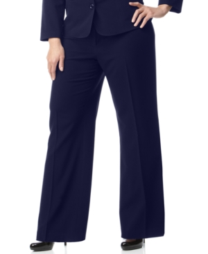 AGB Plus Size Pants, Navy Stretch Suiting