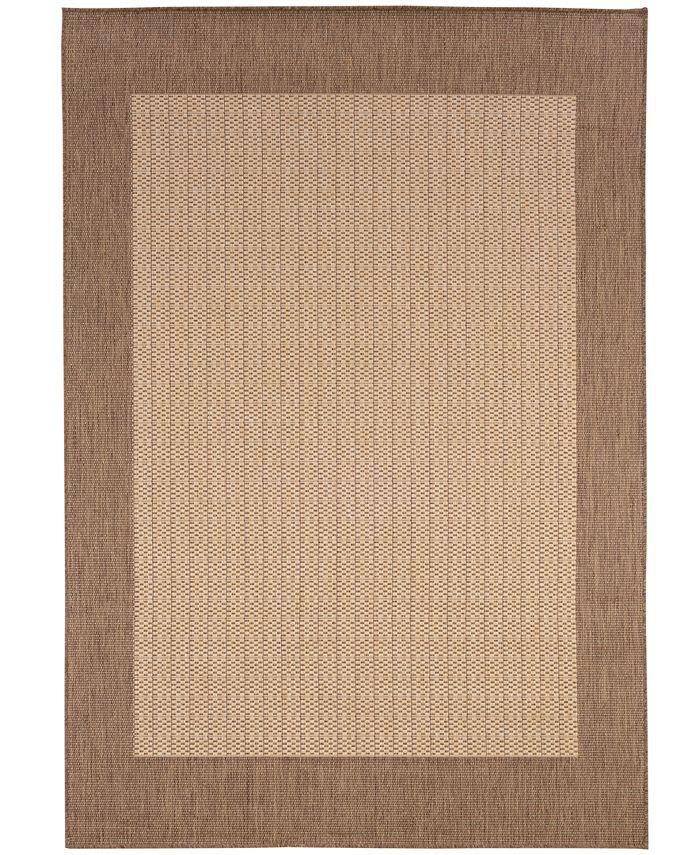 "Couristan - Area Rug, Indoor/Outdoor Recife Collection Checkered Field Natural-Cocoa 5' 3"" x 7' 6"""
