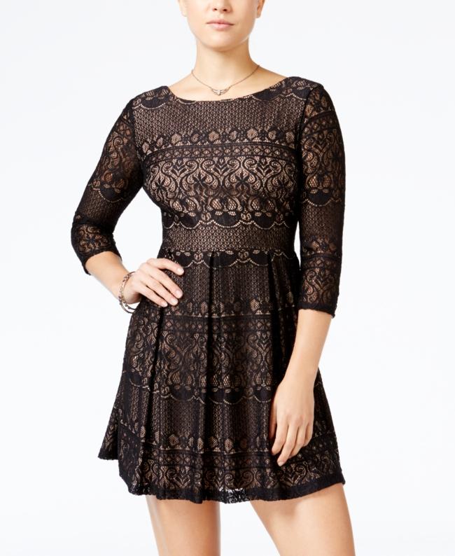 B Darlin Juniors Lace Fit Flare Dress | Clothing