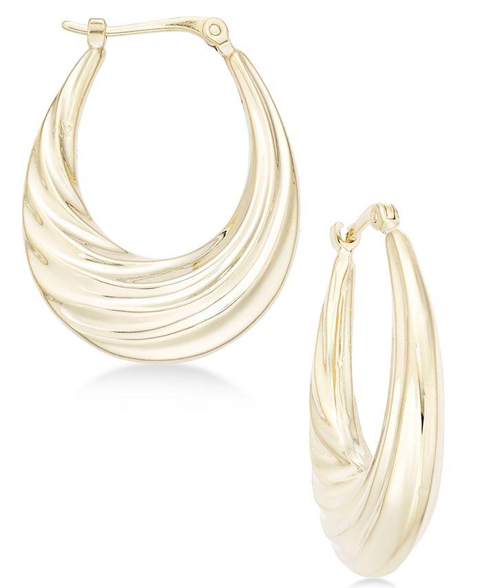 Macy's - Deep Swirl Oval Hoop Earrings in 14k Gold