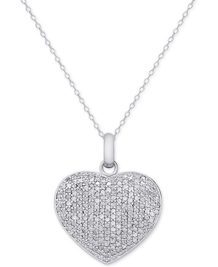 Victoria Townsend - Diamond Pavé Heart Locket Pendant Necklace (2 ct. t.w.) in Sterling Silver