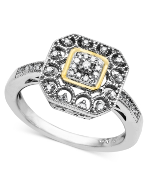 14k Gold and Sterling Silver Ring, Diamond Square (1/10 ct. t.w.)