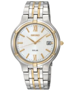 Seiko Men's Solar Two Tone Stainless Steel Bracelet Watch 37mm SNE066
