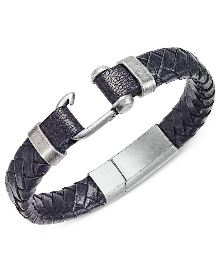 Steve Madden - Stainless Steel Leather Braided Bracelet