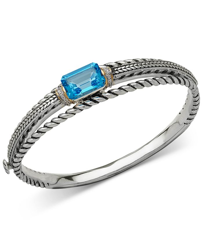 Macy's - Blue Topaz (9 ct. t.w.) and Diamond Accent Patterned Bangle Bracelet in Sterling Silver and 14k Gold