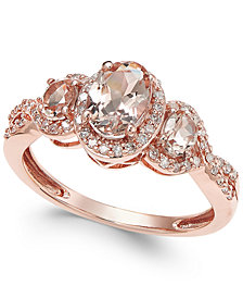 Morganite (3/4 ct. t.w.) and Diamond (1/4 ct. t.w.) Ring in 14k Rose Gold (Size 7 only)