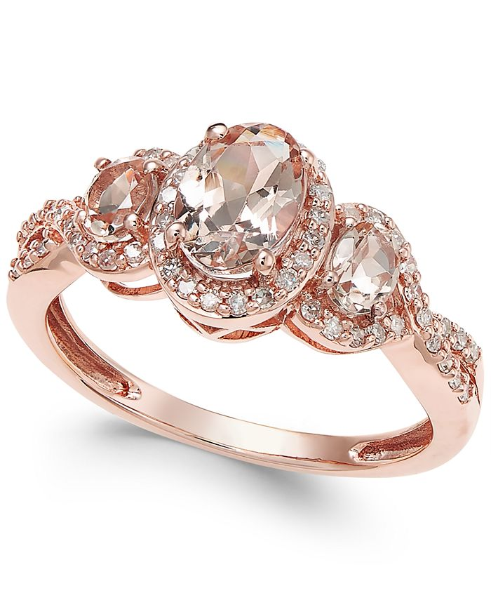 Macy's - Morganite (3/4 ct. t.w.) and Diamond (1/4 ct. t.w.) Ring in 14k Rose Gold
