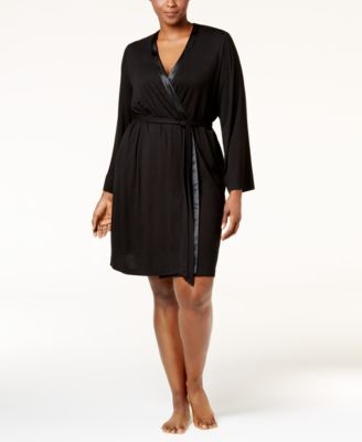 Alfani Plus Size Satin-Trimmed Wrap Robe, Only at Macys