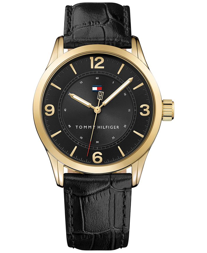 Tommy Hilfiger - Men's Table Black Leather Strap Watch 42mm 1791331