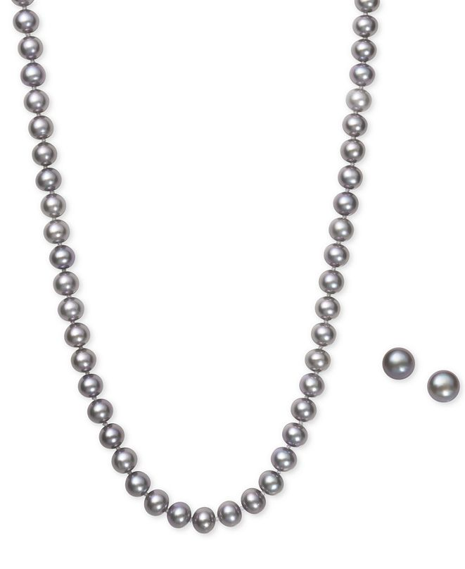 Macy's Gray Cultured Freshwater Pearl (6mm) Necklace and Matching Stud (7-1/2mm) Earrings Set in Sterling Silver