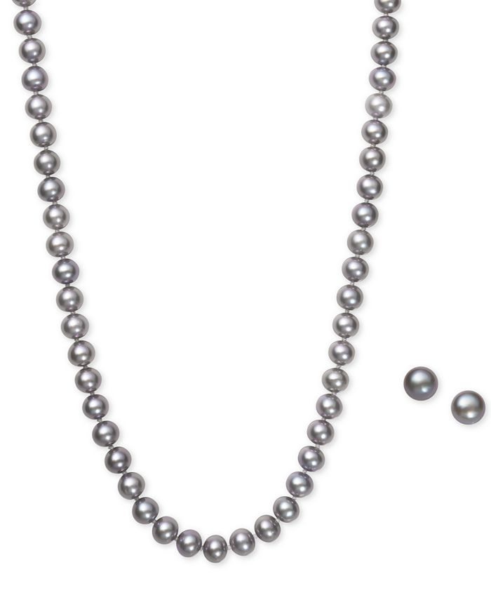 Macy's - Gray Cultured Freshwater Pearl (6mm) Necklace and Matching Stud (7-1/2mm) Earrings Set