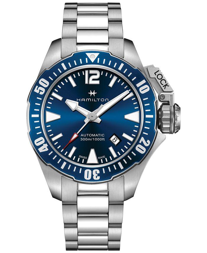 Hamilton - Men's Swiss Automatic Khaki Frogman Stainless Steel Bracelet Watch 42mm H77705145