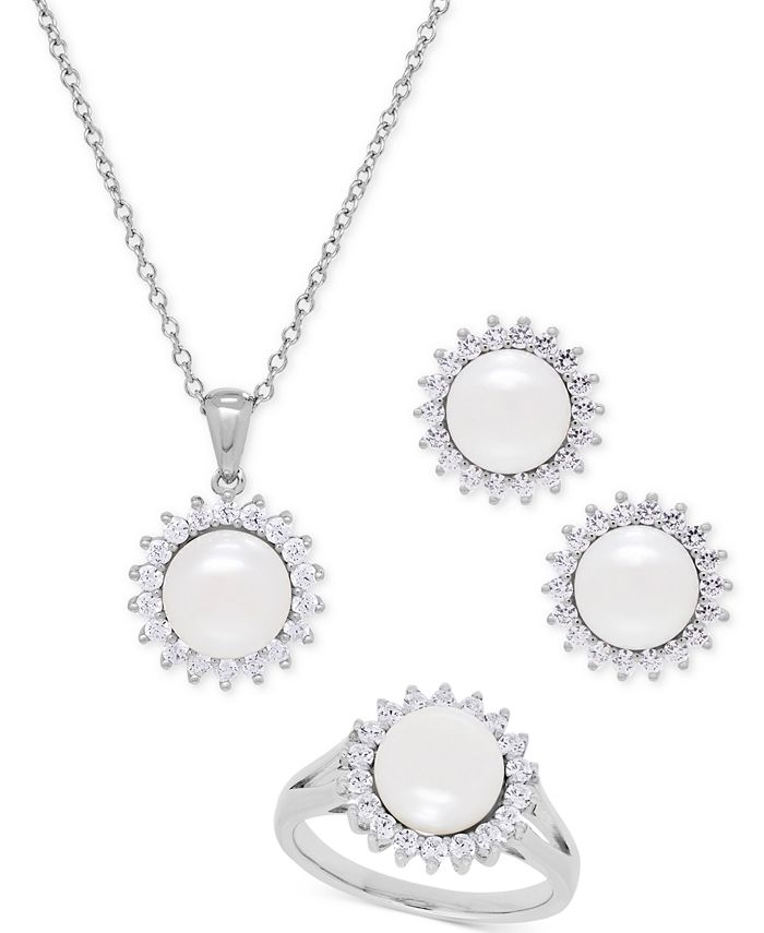 Macy's - Cultured Freshwater Pearl (8mm) and Swarovski Cubic Zirconia Jewelry Set in Sterling Silver
