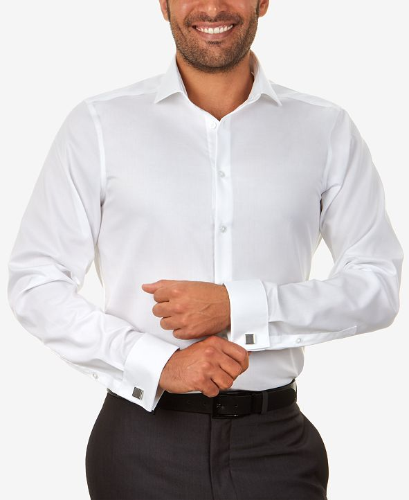 Calvin Klein Men's Slim-Fit Non-Iron Performance Herringbone French Cuff Dress Shirt