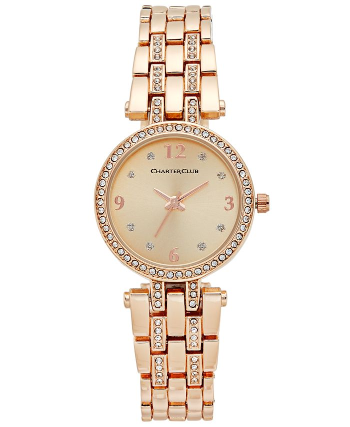 Charter Club - Women's Pavé Rose Gold-Tone Bracelet Watch 28mm