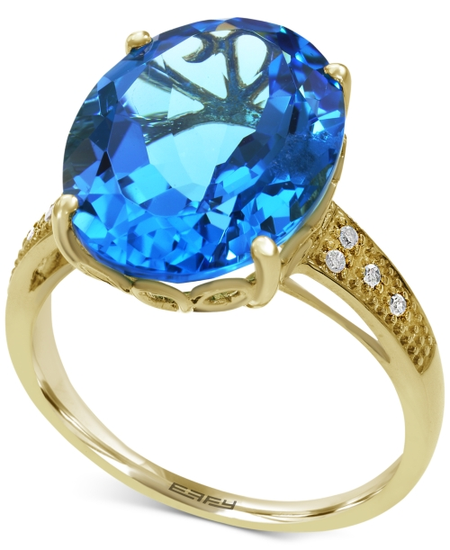 Effy Final Call Blue Topaz (10-1/2 ct. t.w.) and Diamond Accent Statement Ring in 14k Gold