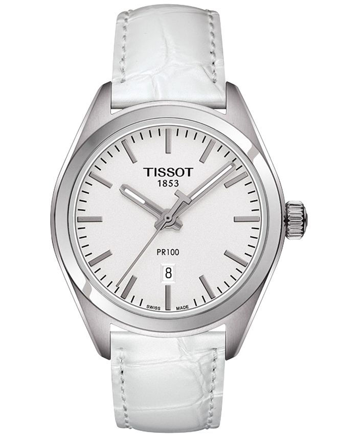 Tissot - Women's Swiss T-Classic PR 100 White Leather Strap Watch 33mm T1012101603100