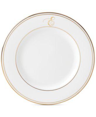 Federal Gold Monogram Salad Plate, Script Letters