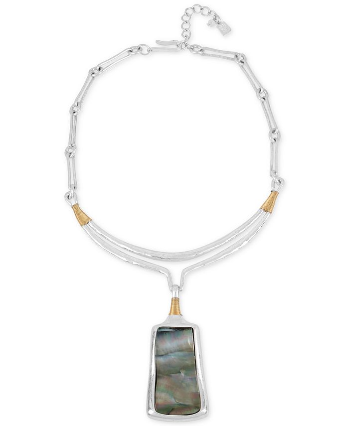 Robert Lee Morris Soho - Two-Tone Sculptural Stone Pendant Necklace